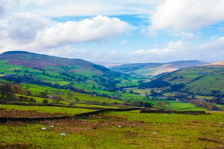 Green Countryside landscape in Yorkshire Dales National Park, United Kingdom photo