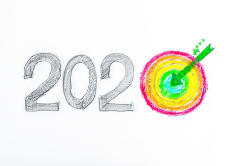 long term goal: Conceptual image of Year 2020, Hand drawing sketch of energy efficiency rating concept, with number zero in shape of a target and arrow in the center, isolated on white background