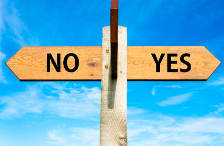 opting: Wooden signpost with two opposite arrows over clear blue sky, YES and No messages, Decisional conceptual image