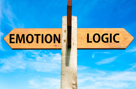 versus: Wooden signpost with two opposite arrows over clear blue sky, Emotion versus Logic messages Stock Photo