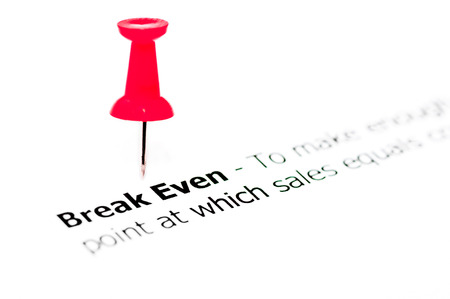 even: Words Break Even pinned on white paper with red pushpin, copy space available, Business Concept Stock Photo