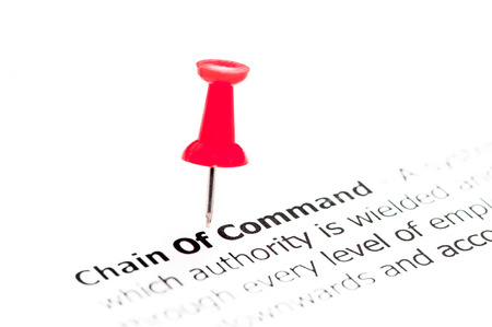 appointing: Words Chain of Command pinned on white paper with red pushpin, copy space available, Business Concept Stock Photo
