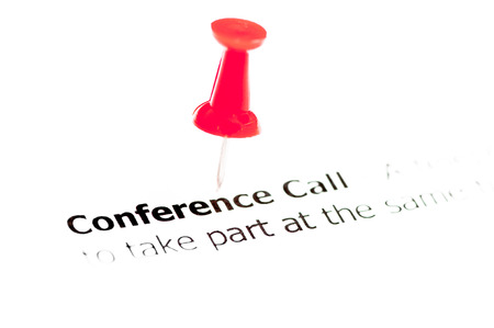 teleconference: Words Conference Call pinned on white paper with red pushpin, copy space available, Business Concept