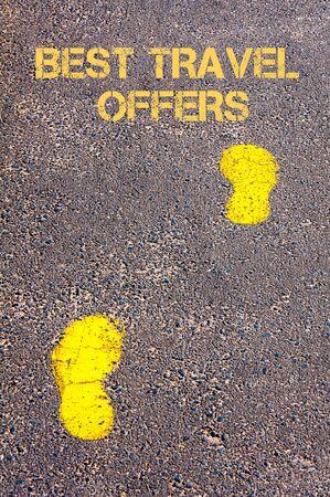 sidewalk sale: Yellow footsteps on sidewalk towards Best Travel Offers message, Travel conceptual image
