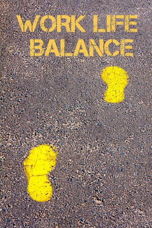 health equity: Yellow footsteps on sidewalk towards Work Life Balance message