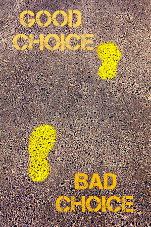 opting: Yellow footsteps on sidewalk from Bad Choice to Good Choice message. Conceptual image Stock Photo