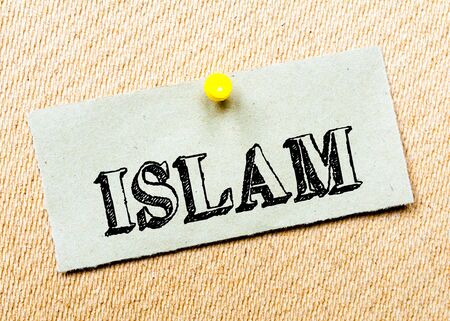 billboard posting: Recycled paper note pinned on cork board. Islam Message. Concept Image Stock Photo