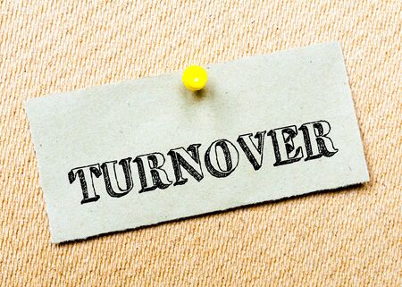 billboard posting: Recycled paper note pinned on cork board.Turnover Message. Concept Image
