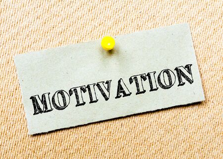 billboard posting: Recycled paper note pinned on cork board.Motivation Message. Concept Image