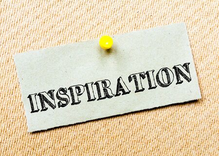 billboard posting: Recycled paper note pinned on cork board. Inspiration Message. Concept Image