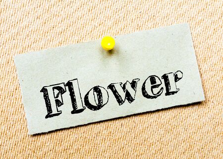 billboard posting: Recycled paper note pinned on cork board. Flower Message. Concept Image Stock Photo