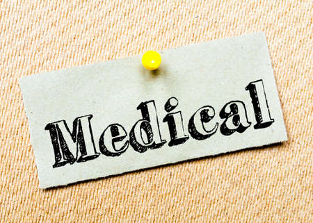 billboard posting: Recycled paper note pinned on cork board. Medical Message. Concept Image Stock Photo