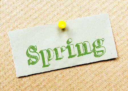 spring message: Recycled paper note pinned on cork board. Spring Message. Concept Image