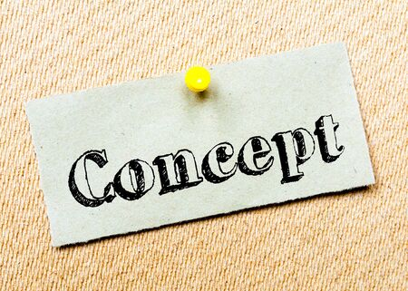 billboard posting: Recycled paper note pinned on cork board. Concept Message. Concept Image