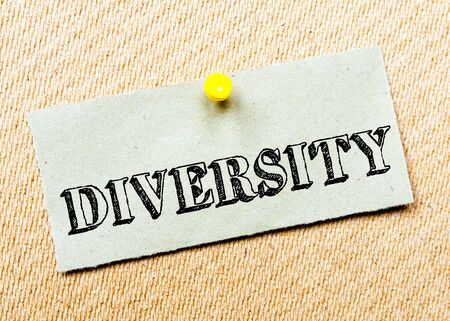 billboard posting: Recycled paper note pinned on cork board. Diversity Message. Concept Image