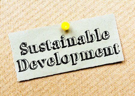 desarrollo sustentable: Reciclado nota de papel depositado en el tablón de corcho. Mensaje para el Desarrollo Sostenible. Concepto de imagen