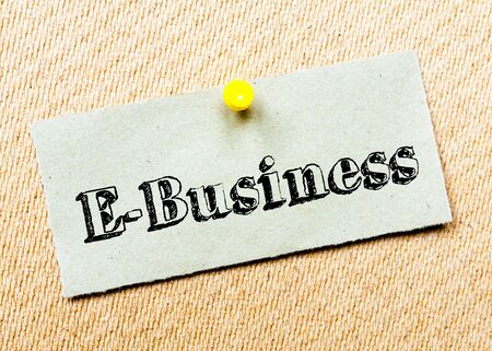 billboard posting: Recycled paper note pinned on cork board. E-Business Message. Concept Image