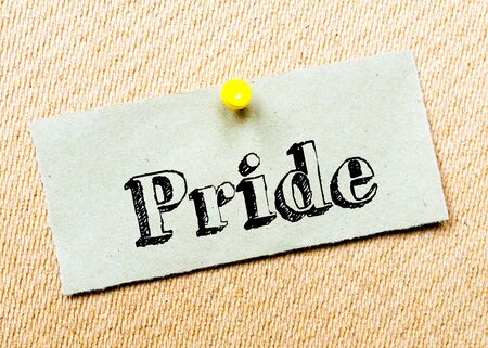 billboard posting: Recycled paper note pinned on cork board. Pride Message. Concept Image