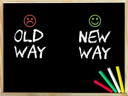 new way: Old Way versus New Way message with sad and happy emoticon faces.
