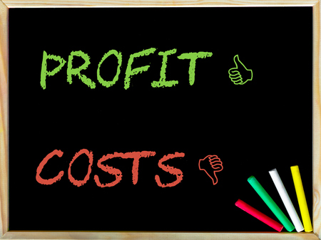 unlike: Costs and Unlike sign versus Profit and Like sign. Stock Photo
