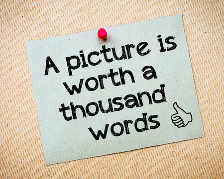pictures: A picture is worth a thousand words Message. Recycled paper note pinned on cork board. Concept Image