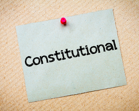 constitutional: Constitutional Message. Recycled paper note pinned on cork board. Concept Image