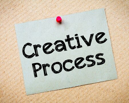 idioms: Creative Process Message. Recycled paper note pinned on cork board. Concept Image