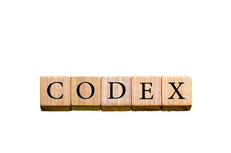 codex: Word CODEX. Wooden small cubes with letters isolated on white background with copy space available. Concept image.
