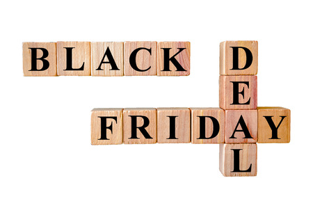 Black Friday deal message. Wooden small cubes with letters isolated on white background with copy space available. Retail Sales Concept image. photo