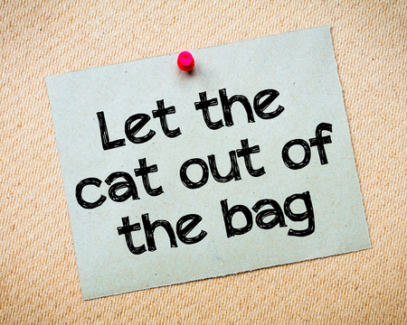 let out: Let The Cat Out of The Bag Message. Recycled paper note pinned on cork board. Concept Image