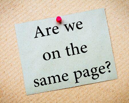 同じページですかメッセージ。リサイクル紙のノートは、コルクボードに固定。コンセプト イメージ