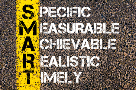 specific: Specific Measurable Achievable Realistic Timely  - SMART Concept. Conceptual image with yellow paint line on the road over asphalt stone background.