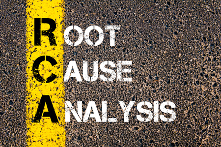 Acronym RCA - Root Cause Analysis.Business Conceptual image with yellow paint line on the road over asphalt stone background.