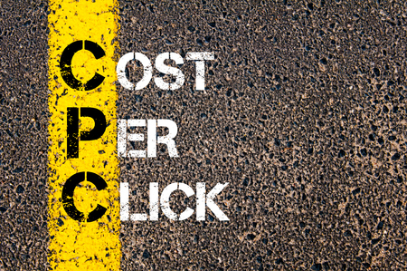 cpc: Acronym CPC- Cost Per Click. Business Conceptual image with yellow paint line on the road over asphalt stone background.