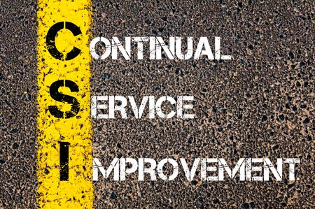 background csi: Business Acronym CSI - Continual Service Improvement. Yellow paint line on the road against asphalt background. Conceptual image