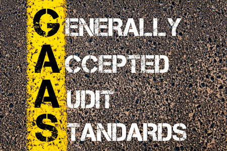 accepted: Business Acronym GAAS � Generally Accepted Audit Standards. Yellow paint line on the road against asphalt background. Conceptual image