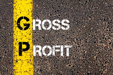 gp: Business Acronym GP � Gross Profit. Yellow paint line on the road against asphalt background. Conceptual image