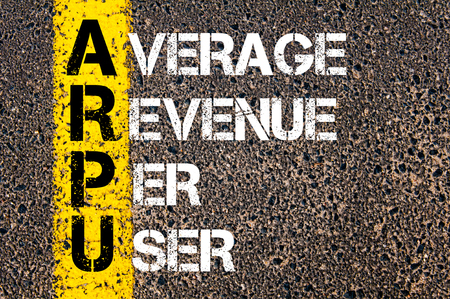 Business Acronym ARPU � Average revenue per user. Yellow paint line on the road against asphalt background. Conceptual image photo