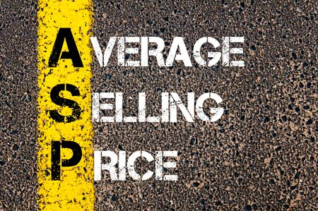 asp: Business Acronym ASP � Average selling price. Yellow paint line on the road against asphalt background. Conceptual image