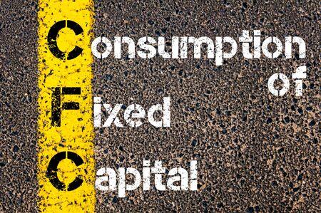 fixed line: Acr�nimo de negocios CFC consumo de capital fijo. L�nea de pintura amarilla en el camino contra el fondo de asfalto. Imagen conceptual Foto de archivo