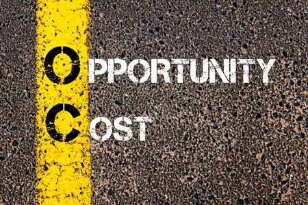 oc: Business Acronym OC -  Opportunity Cost. Yellow paint line on the road against asphalt background. Conceptual image