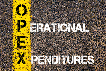 Business Acronym OPEX - Operational Expenditures. Yellow paint line on the road against asphalt background. Conceptual image