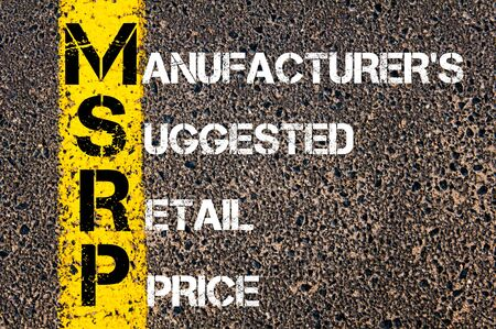 suggested: Business Acronym MSRP - Manufacturers Suggested Retail Price. Yellow paint line on the road against asphalt background. Conceptual image
