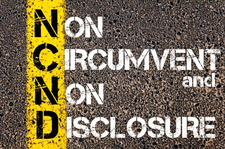 circumvent: Business Acronym NCND - Non-Circumvent and Non-Disclosure. Yellow paint line on the road against asphalt background. Conceptual image
