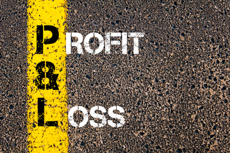 pl: Business Acronym P&L - Profit and Loss. Yellow paint line on the road against asphalt background. Conceptual image