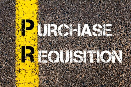 pr: Business Acronym PR - Purchase Requisition. Yellow paint line on the road against asphalt background. Conceptual image