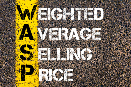 weighted: Business Acronym WASP as Weighted Average Selling Price. Yellow paint line on the road against asphalt background. Conceptual image