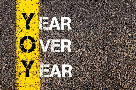 yoy: Business Acronym YOY as Year Over Year. Yellow paint line on the road against asphalt background. Conceptual image