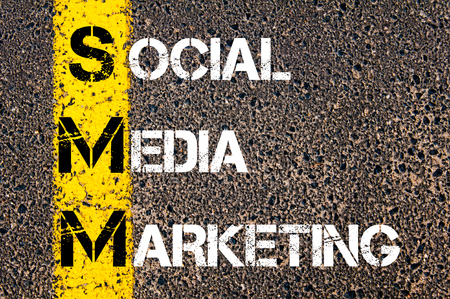 smm: Social Media Acronym SMM as SOCIAL MEDIA MARKETING. Yellow paint line on the road against asphalt background. Conceptual image