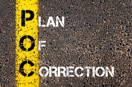 the conceptual: Business Acronym POC as PLAN OF CORRECTION. Yellow paint line on the road against asphalt background. Conceptual image